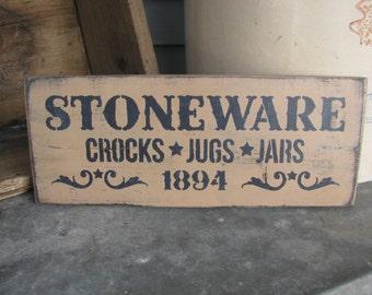 Primitive Stoneware Crocks Jugs and Jars Hand Painted Wood Sign GCC5526