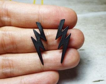 Solid Black Lightning Bolt Stud Earrings