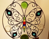 Window Art  Suncatcher Recycle Glass Wrought Iron Works Butterfly