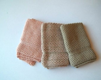 Dishcloths Knit in Cotton in Peach Blossom and Putty, Knit Washcloths, Wash Cloth, Dish Cloth, Cotton Cloth