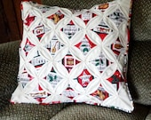 Quilted Cathedral Window Pillow Cover Christmas Theme