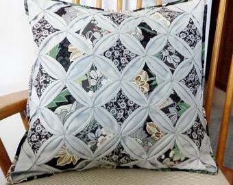 Quilted Cathedral Window Pillow Cover Gray Black White