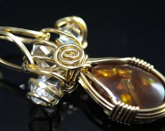 Fire Agate and Herkimer Diamonds - Wedding Engagement - 14KT Gold Talisman Amulet Pendant Unique