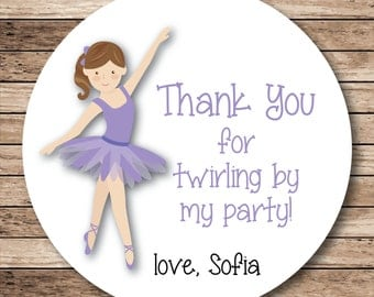 Thank You for Twirling By My Party Personalized Ballerina Stickers or Tags