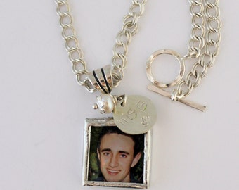 25th anniversary, Photo necklace customized with 2 pictures, sterling silver components and a hand stamped charm