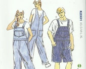 UNISEX Bib Overall Pattern Kwik Sew 2331 Uncut Men's Misses XS to XL