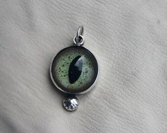 Crocodile Glass Eye Pendent