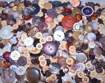 Bulk Lot, 500  Brown  Buttons, Lot BRN-1 (Free US Shipping)