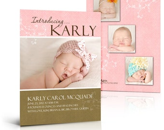 Birth Announcement Templates - KARLY CAROL - (4) Press Printed , Flat & Folded Card  Digital Templates for Photographers