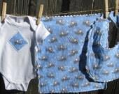 Baby Gift Set - Sweet Blue Elephant - includes Baby Bodysuit, Bib, Burp Cloth - Size NB-12 months