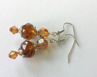 Autumn Glass Amber and Swarovski Beaded Earrings