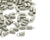 Silver Cord Ends - Stainless steel spring coil ends - hypoallergenic necklace fasteners 20pcs (JF599)