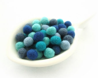 Felt Balls Aqua Blue Color Mix - 50 Pure Wool Beads 10mm  (W200E)
