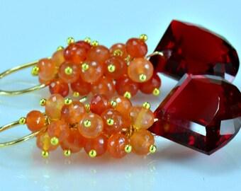 Red Topaz Dangle Earrings Red Topaz Orange Carnelian 14 Gold Filled Wire Wrapped Earrings