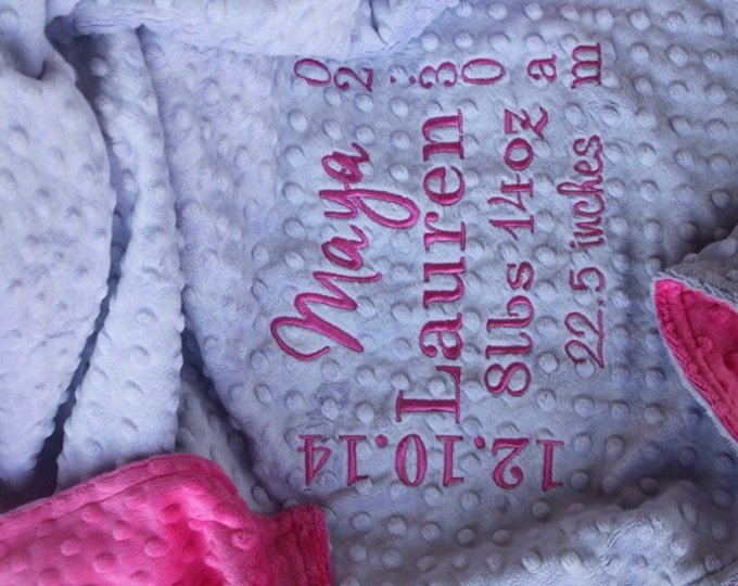 Birth Stat Annouuncement Customized Personalized Monogrammed Embroidered Minky Soft and Comfy Chenille New Baby 30x36 Welcome Photo Blanket