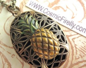 Antiqued Brass Pineapple Locket Necklace Vintage Inspired Filigree Handpainted Color Oval Locket Steampunk Necklace Tiki Locket Tiki Necklac