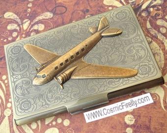Brass Airplane Case Business Card Holder Steampunk Card Holder Pan Am DC9 Prop Plane Vintage Style Antiqued Brass Case Airplane Card Case