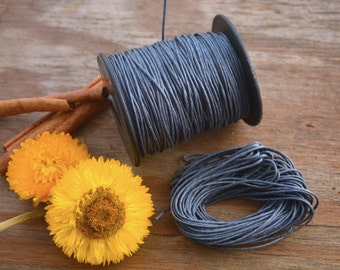 Grey: Braided, Cotton Cord 1mm, 25ft (8.33 yards) / Neutral thread / Perfect for Shamballa, DIY Supplies, Cotton Twine, Supplies