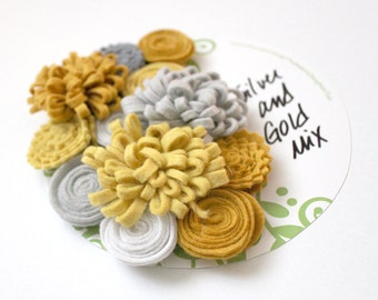 Handmade Wool Felt Flowers, Silver and Gold Flowers, Holiday Colors
