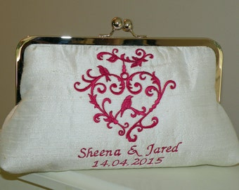 Bridal/Wedding Clutch/Purse/Bag ...Embroidered Love Bird Sweet Heart on Silk..Infinity Heart/The Love Knot Gift..Fuchsia Ivory Gold Silver