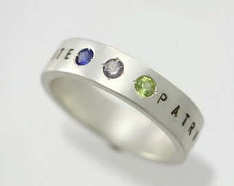 3 Stone Name Mother Ring in Sterling Silver (Made to Order)
