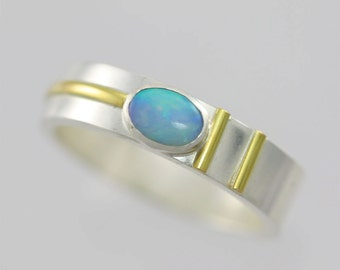 Oval Stone Ring with Stripes 14K on Sterling Silver (Opal) Made to Order