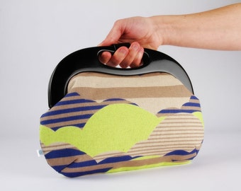 Clutch purse with resin frame - Clouds in neon yellow and navy blue - Handle purse / Graphic clouds / Striped sky / beige white sun / Boho