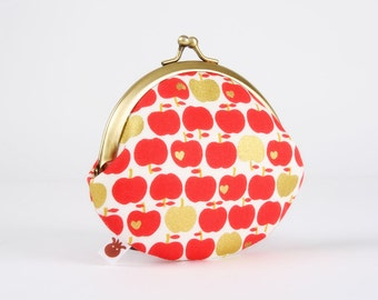 Metal frame coin purse - Apples in gold and red - Daddy rounded purse / Japanese fabric / Metallic gold /  Hearts