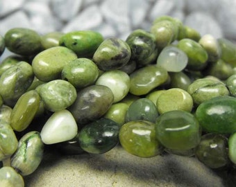NEPHRITE JADE NUGGETS 00314 genuine precious gemstone beads mottled white n green hue natural undyed B. C. Canada sub rounded oval strand