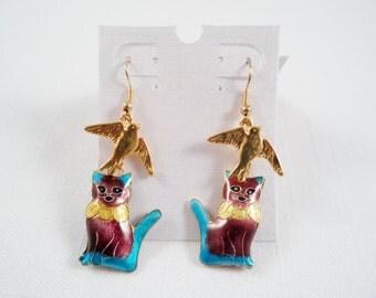 Cute Handmade Cat/Bird Cloisonne Earrings