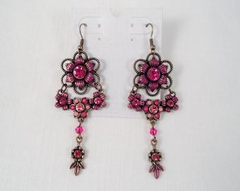 Vintage Fuschia Crystal Rhinestone Floral Earrings