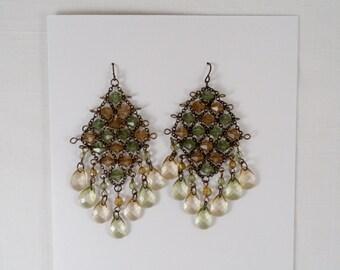 Light Green Olive Tear Drop Chandelier Earrings