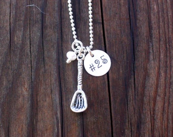 Lacrosse Necklace Lacrosse Jewelry Sterling Silver Lacrosse Stick Personalized Lacrosse Necklace LAX Team Jewelry