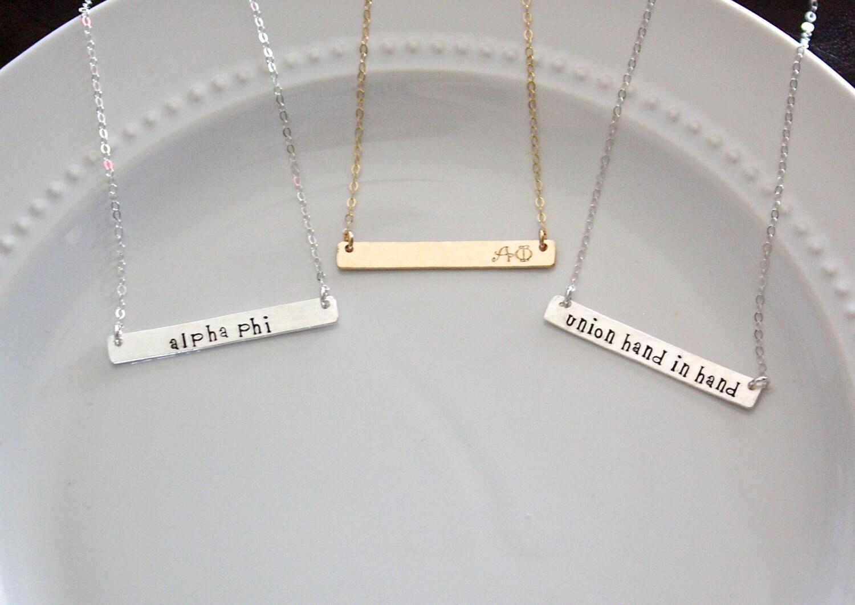 Alpha Phi Necklace Sorority Bar Necklace Sorority Jewelry