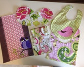 Bibs &  Burpies ~ Pink, Green, Yellow ~ Includes Wipe Holder ~ Owl and Bird Design