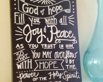 Romans 15:13 Canvas--Handlettered, Chalkboard-Style, 11x14