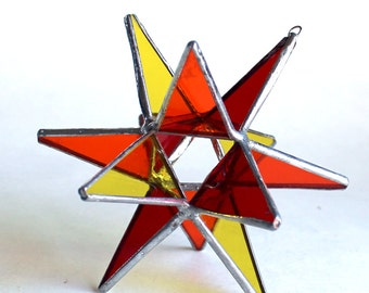 NEW Stained Glass Moravian Star - Four Seasons Red Hot Summer-Home Decor -  4.5""