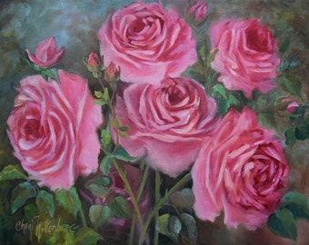 Pink Cabbage Roses Still Life Canvas Painting by Cheri Wollenberg