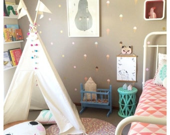 Teepee tent for children, plain cotton canvas, MIDI size, tipi without poles, indoor play teepee tent, NO POLES, Play tent,