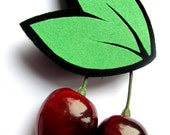 50s Reproduction Vintage Style Lifelike Cherry Pin Brooch by Dolly Cool