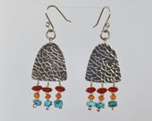 Textured Sterling Silver Earrings with Wire Wrapped Carnelian and Turquoise beads