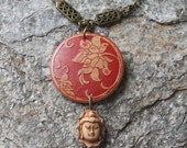 Wooden engraved Oriental  flower with Buddha head  pendant