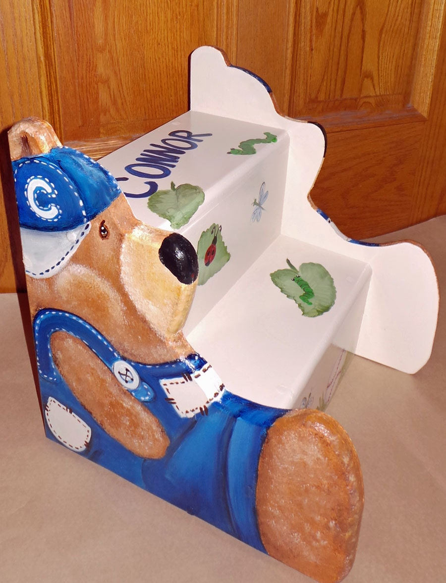 Custom Step Stool With Teddy Bear Sides Cut Out Wooden