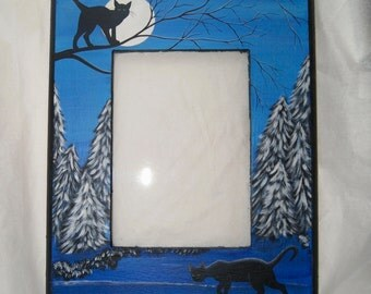 Photo Frame Black Cat, Blue, Wood Picture Frame, Winter, Hand painted