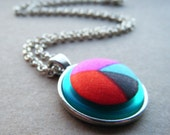 Grafik Necklace. Handmade Teal, Pink, Red and Brown Retro Geometric Retro Print Fabric Button Necklace.