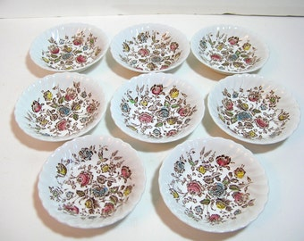 "Johnston Bros. Staffordshire Bouquet Set Of Eight 5"" Dessert Bowls"
