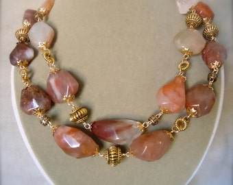 NEW MARKDOWN: Dillon Beach -- Red Agate Gemstone Double Strand Necklace