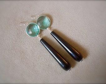 Black Onyx and Blue Quartz Statement Earrings