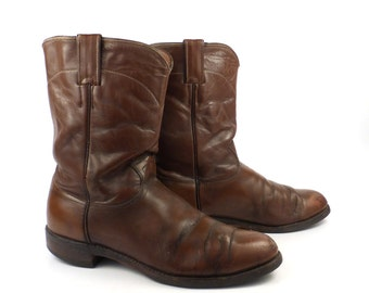 Brown Cowboy Boots Vintage 1970s Justin Roper Distressed men's size 9 E