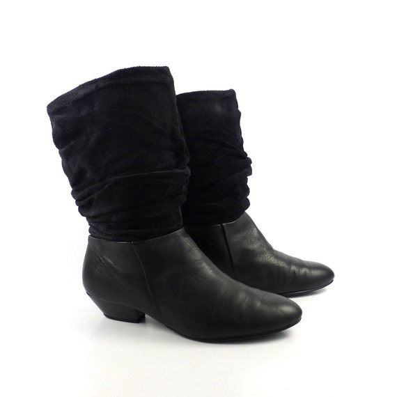 Black Suede Boots Vintage 1980s Leather Newport News Flat